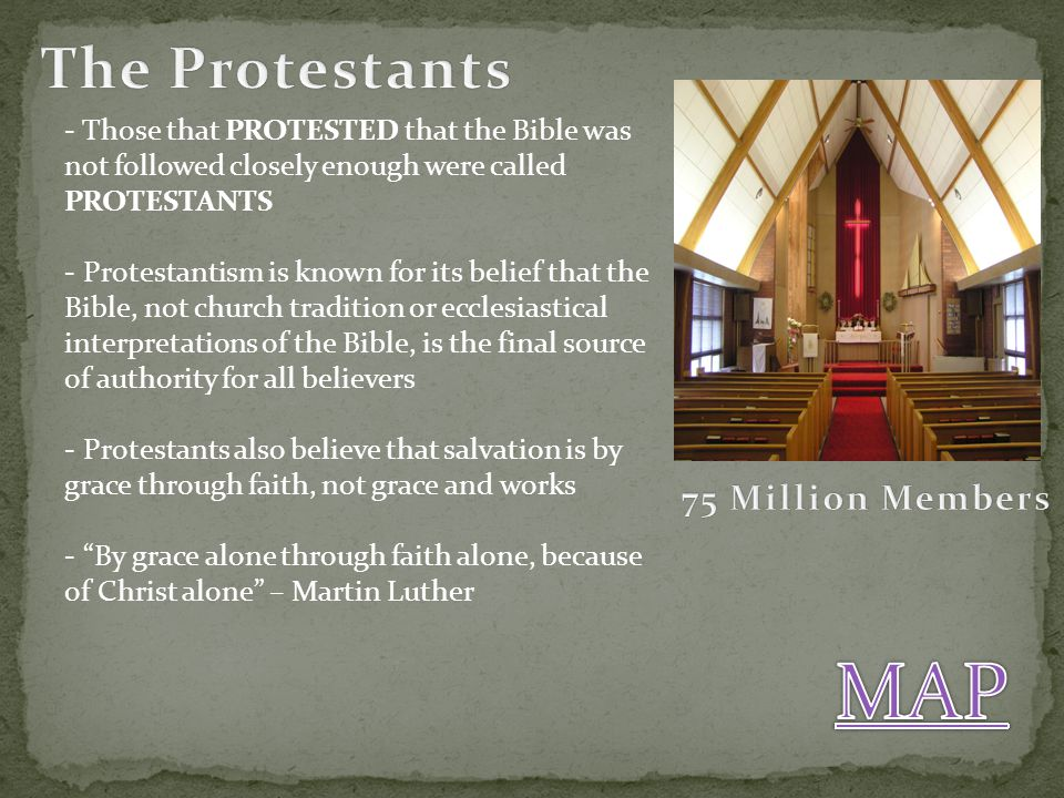 MAP The Protestants 75 Million Members