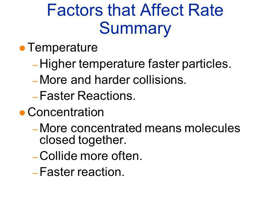 Factors that Affect Rate Summary