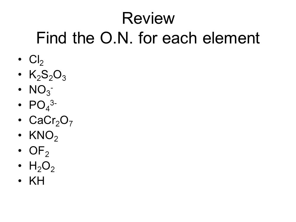 Review Find the O.N. for each element