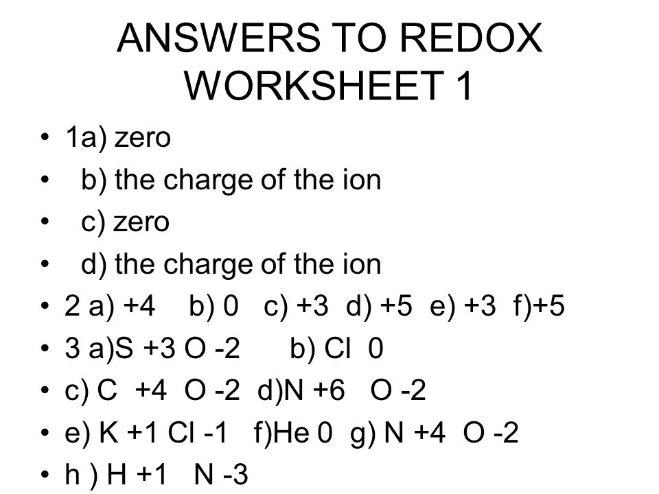 ANSWERS TO REDOX WORKSHEET 1