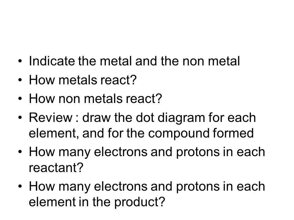 Indicate the metal and the non metal