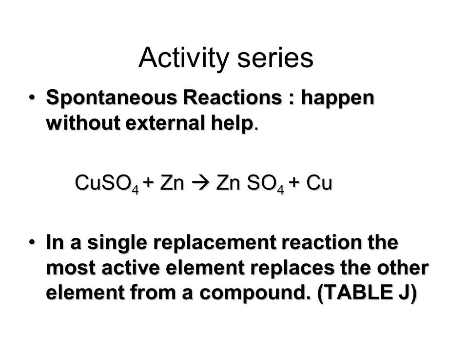 Activity series Spontaneous Reactions : happen without external help.