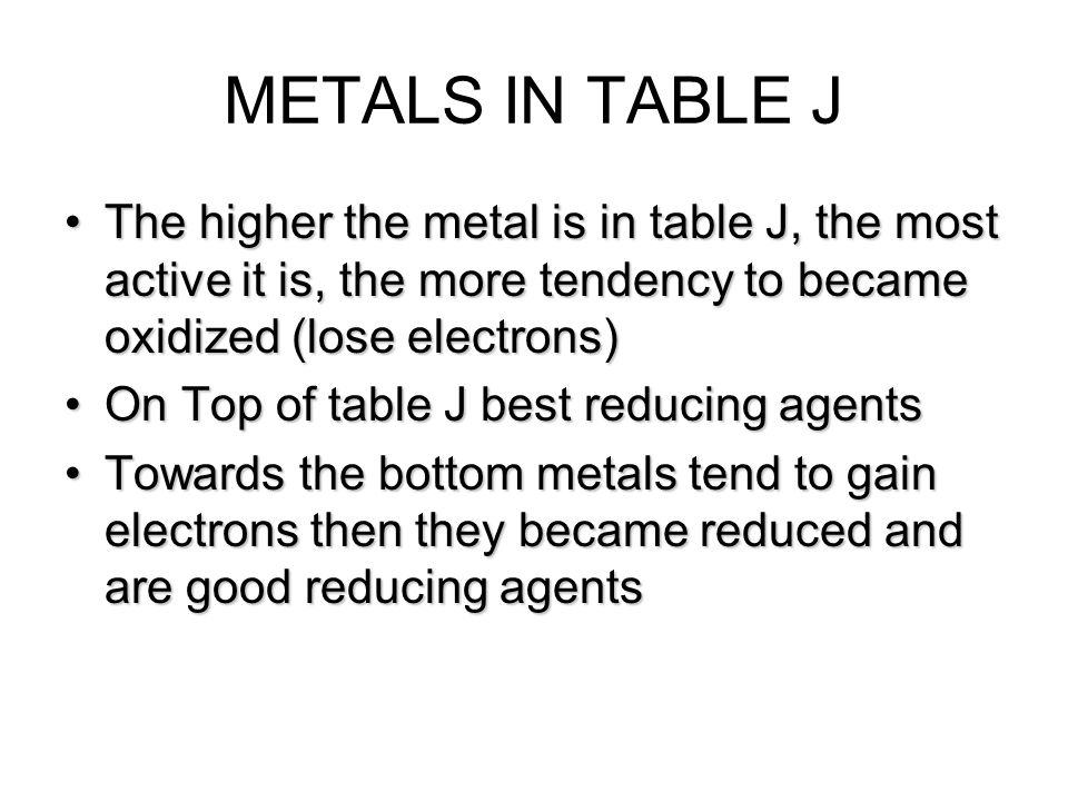METALS IN TABLE J The higher the metal is in table J, the most active it is, the more tendency to became oxidized (lose electrons)