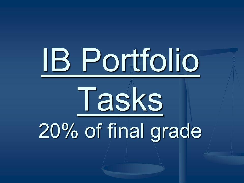 IB Portfolio Tasks 20% of final grade
