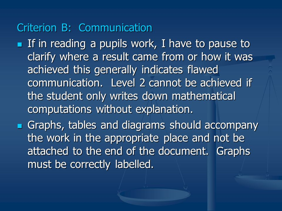 Criterion B: Communication