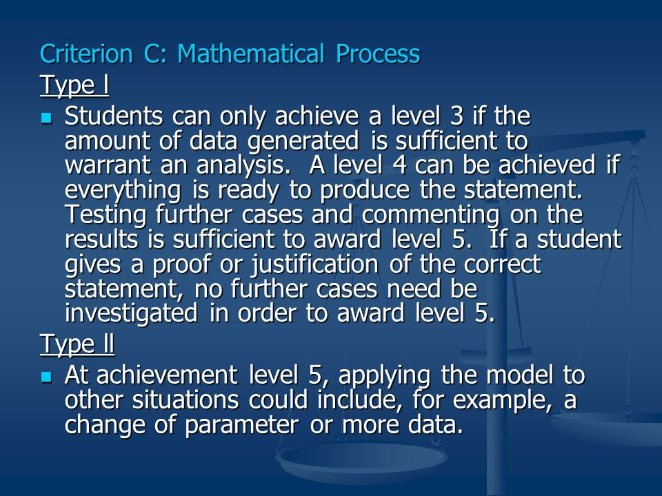 Criterion C: Mathematical Process