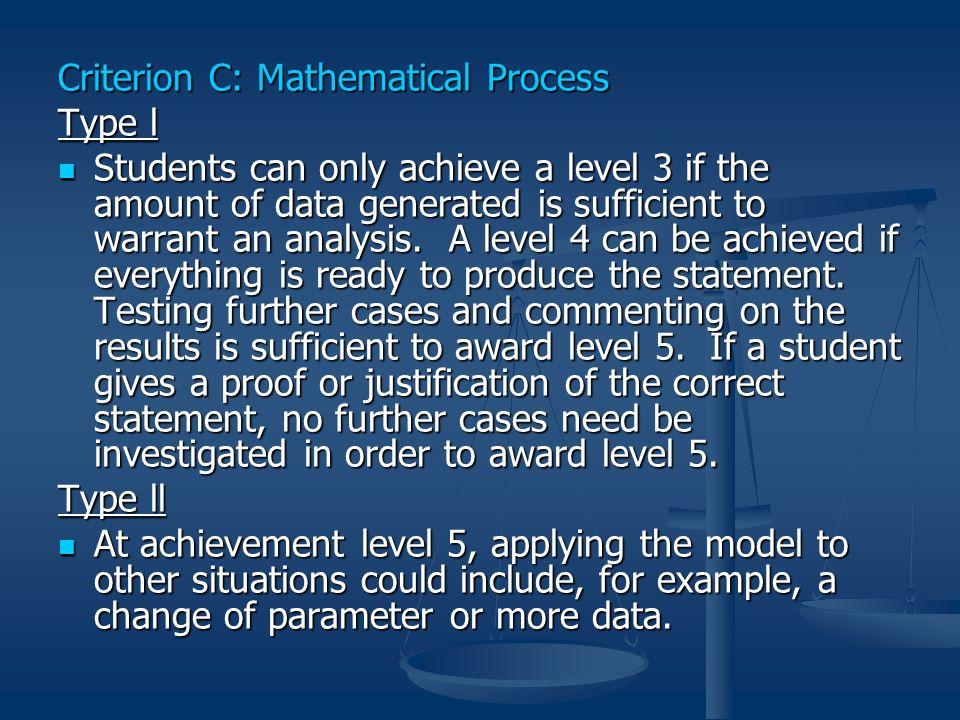 Criterion C: Mathematical Process