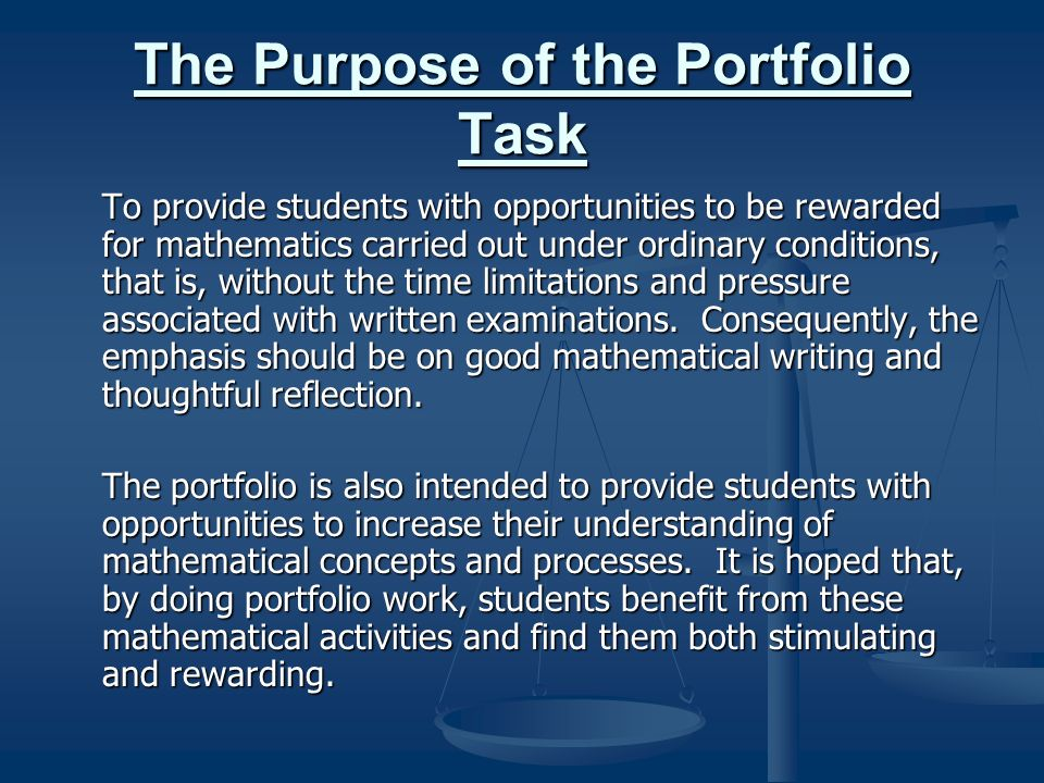 The Purpose of the Portfolio Task