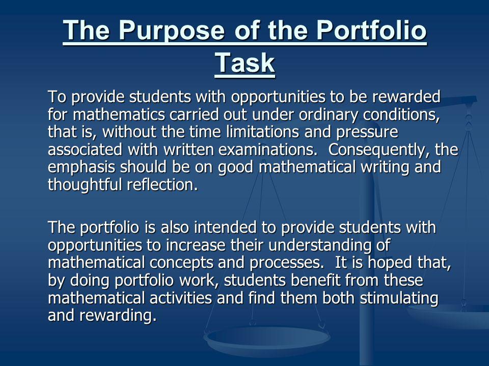 The Purpose of the Portfolio Task