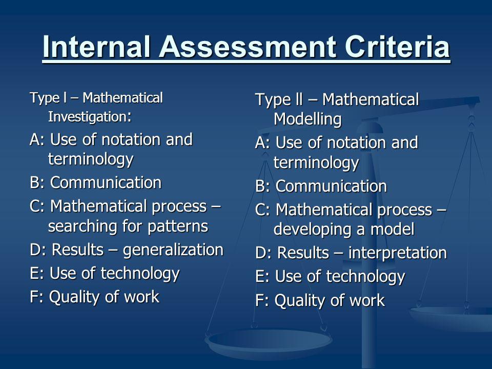 Internal Assessment Criteria