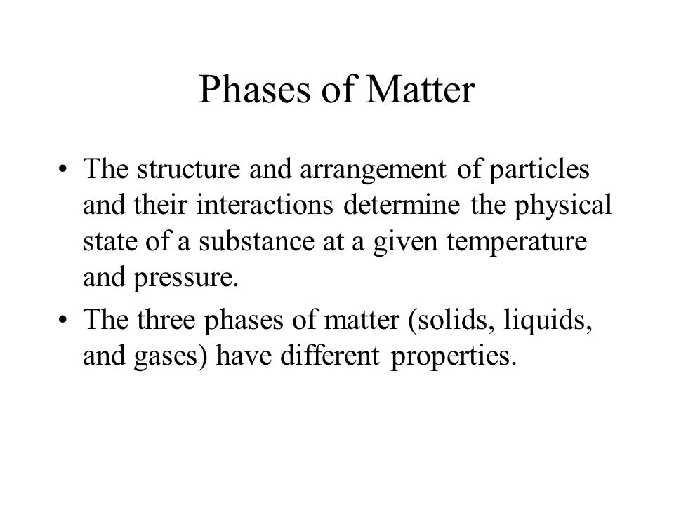 Phases of Matter