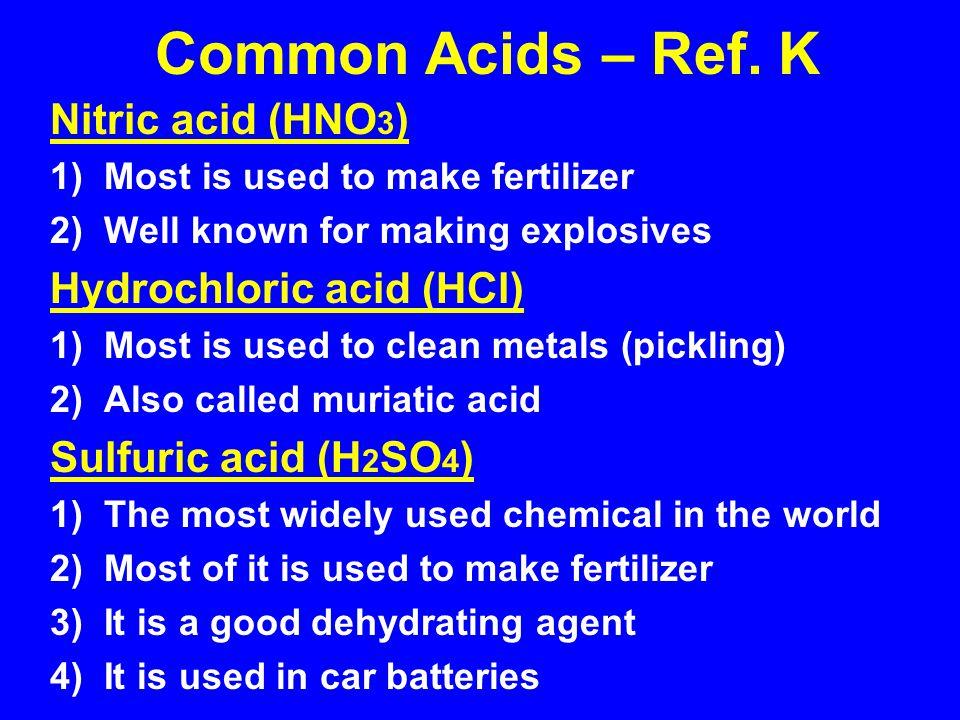 Common Acids – Ref. K Nitric acid (HNO3) Hydrochloric acid (HCl)