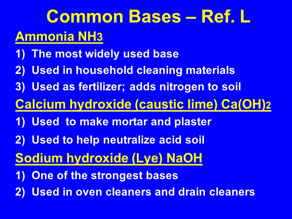 Common Bases – Ref. L Ammonia NH3