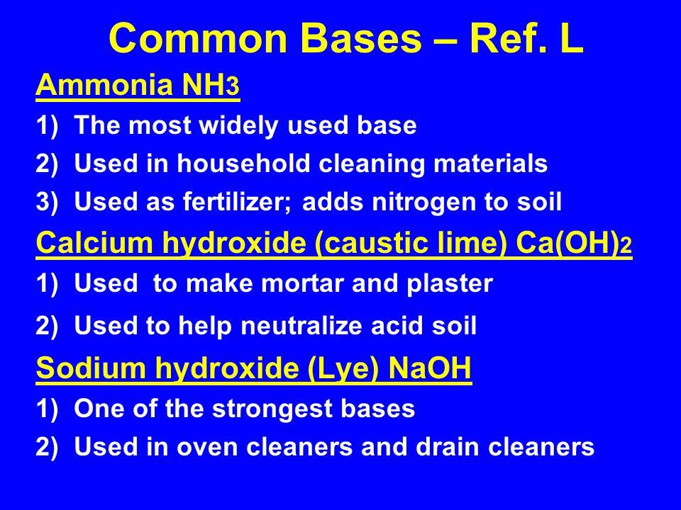Common Bases – Ref. L Ammonia NH3