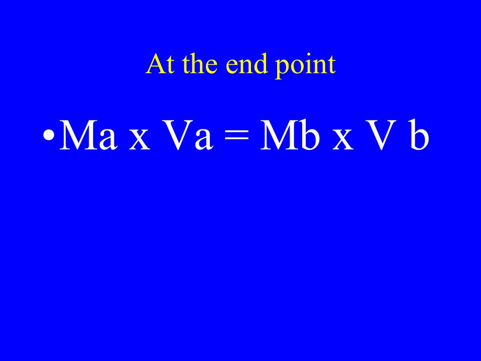 At the end point Ma x Va = Mb x V b