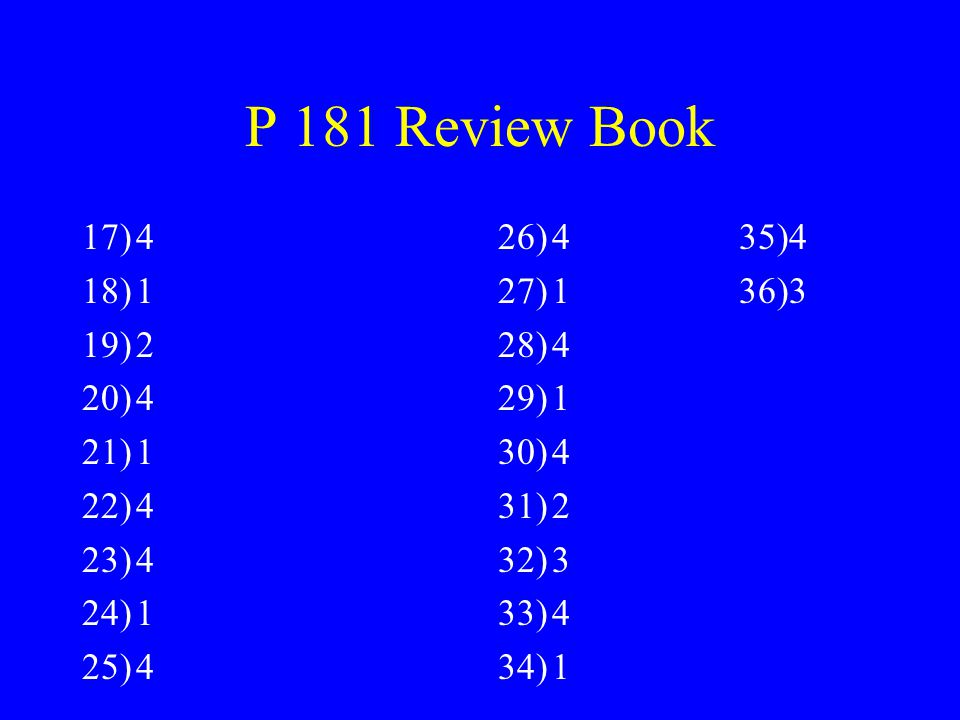 P 181 Review Book 4 1 2 4 35)4 1 36)3 4 1 2 3
