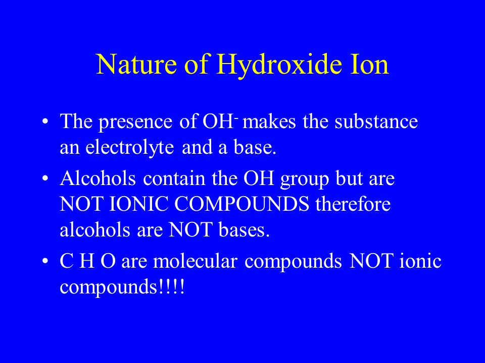 Nature of Hydroxide Ion
