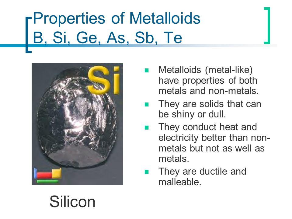 Properties of Metalloids B, Si, Ge, As, Sb, Te