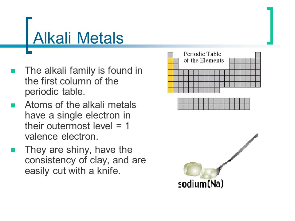 Periodic table of elements ppt video online download alkali metals the alkali family is found in the first column of the periodic table urtaz Choice Image