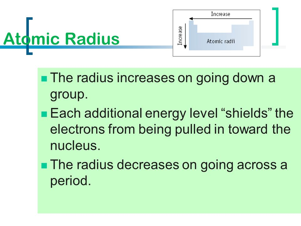 Atomic Radius The radius increases on going down a group.