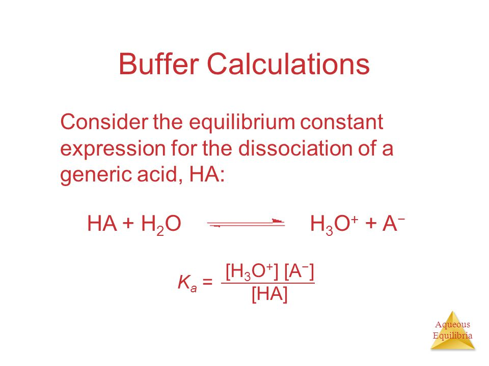 Buffer Calculations Consider the equilibrium constant expression for the dissociation of a generic acid, HA: