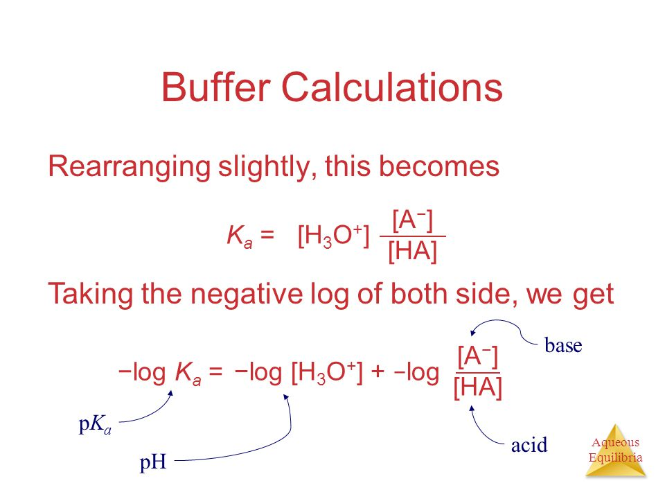 Buffer Calculations Rearranging slightly, this becomes