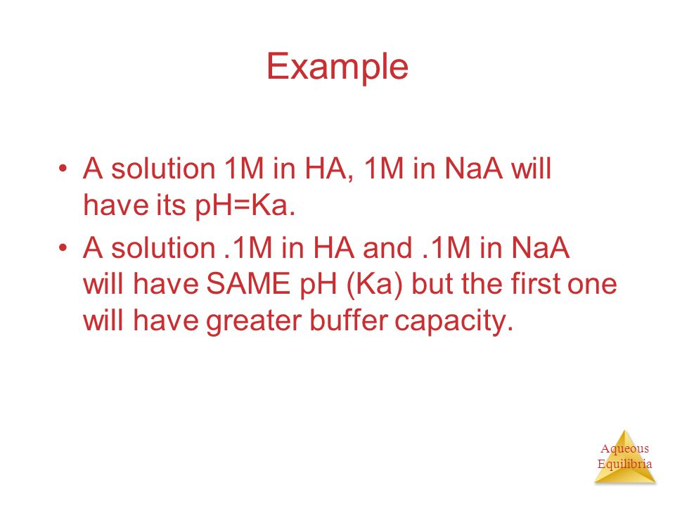Example A solution 1M in HA, 1M in NaA will have its pH=Ka.