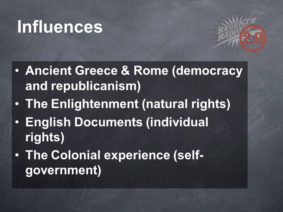 Influences Ancient Greece & Rome (democracy and republicanism)