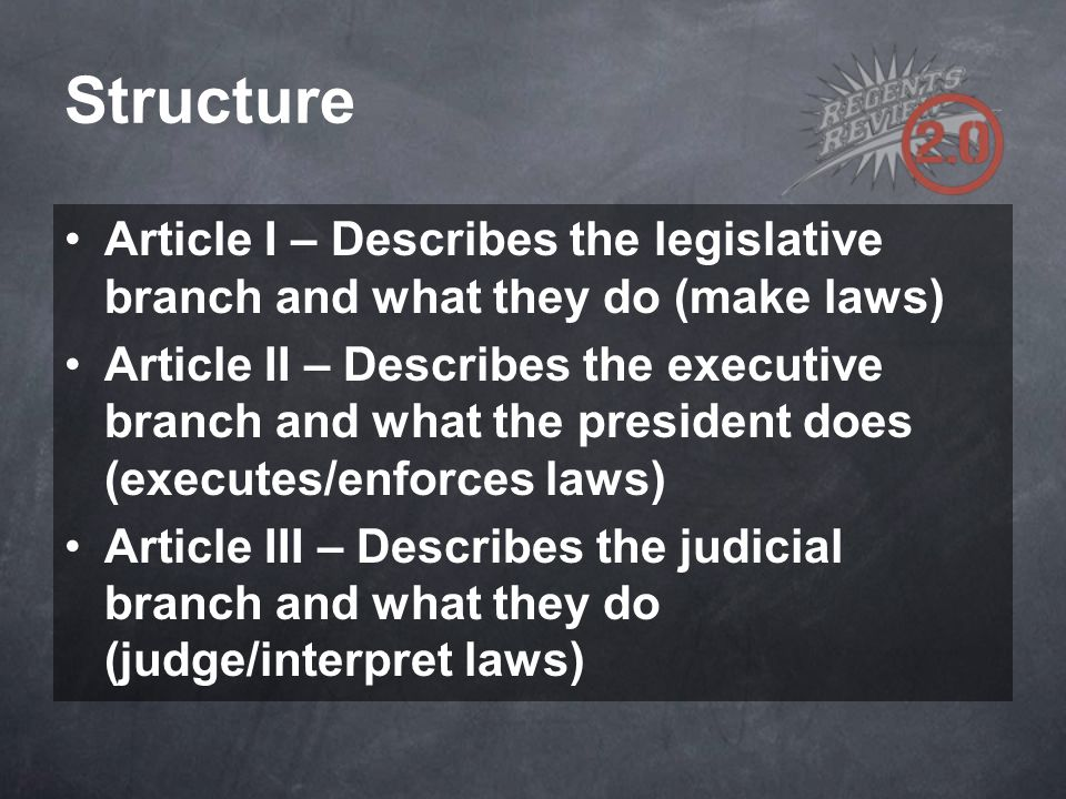 Structure Article I – Describes the legislative branch and what they do (make laws)