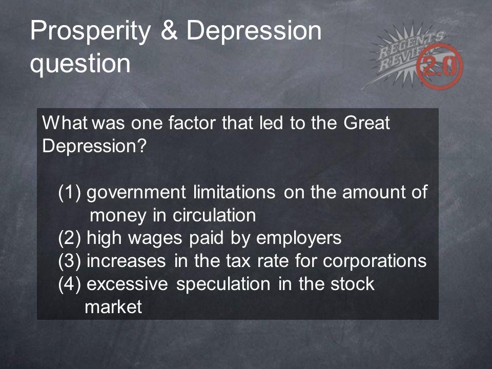 Prosperity & Depression question