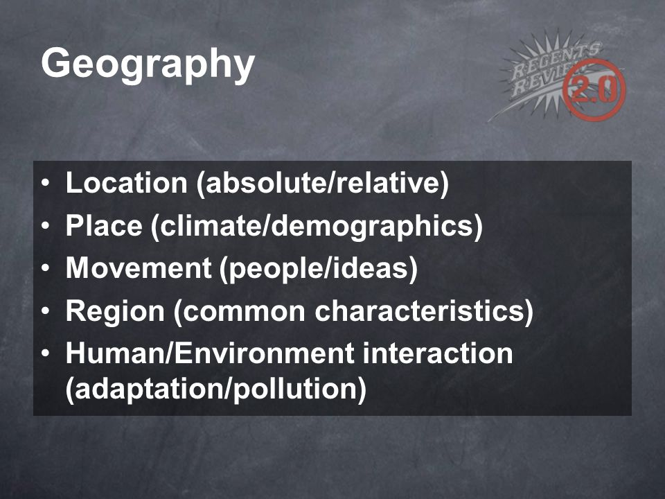Geography Location (absolute/relative) Place (climate/demographics)