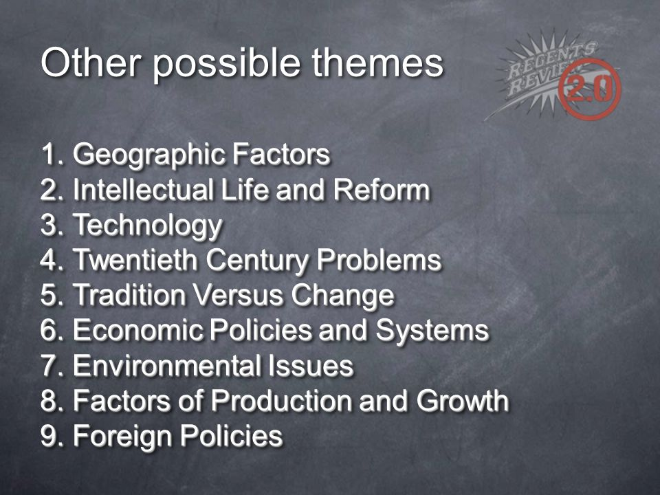 Other possible themes 1. Geographic Factors