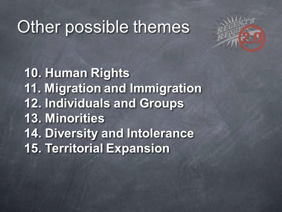 Other possible themes 10. Human Rights 11. Migration and Immigration