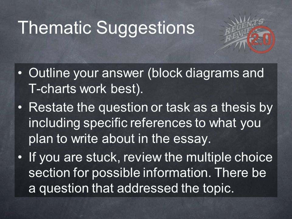 Thematic Suggestions Outline your answer (block diagrams and T-charts work best).