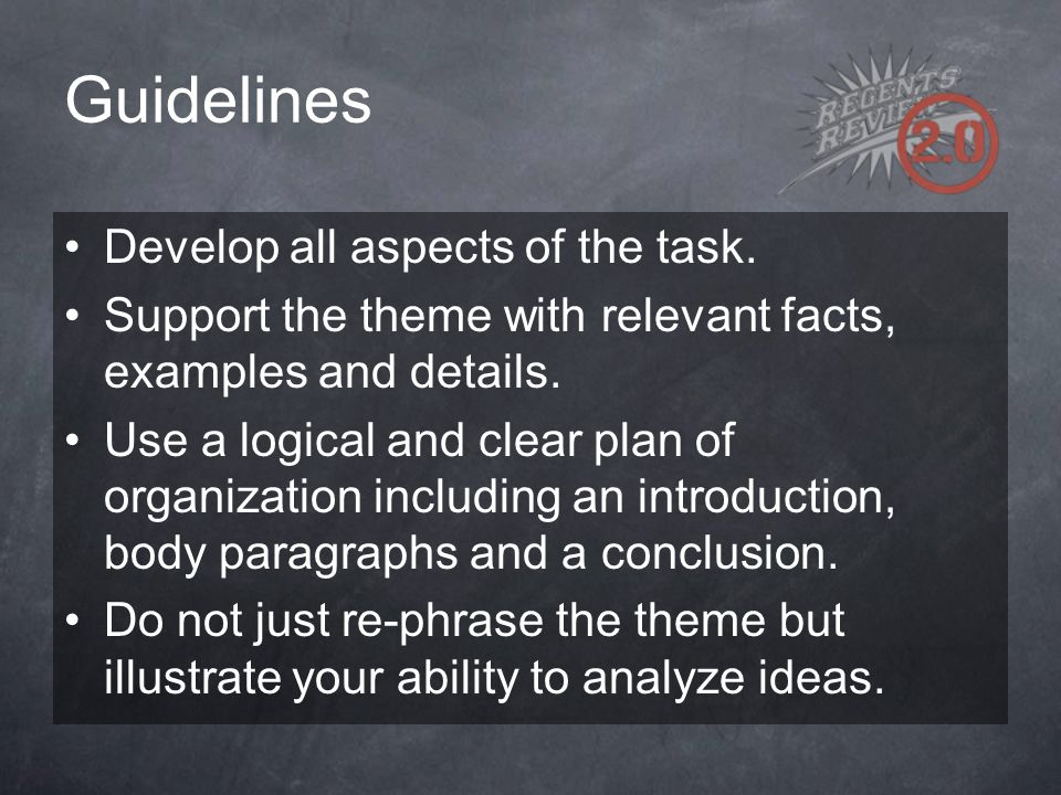 Guidelines Develop all aspects of the task.