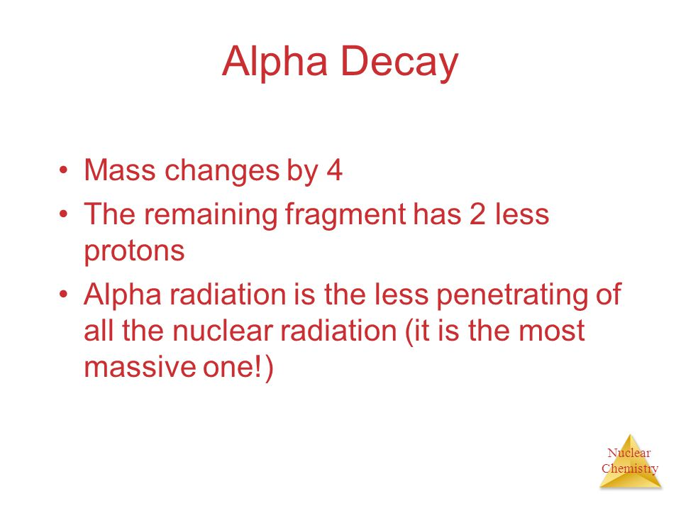 Alpha Decay Mass changes by 4
