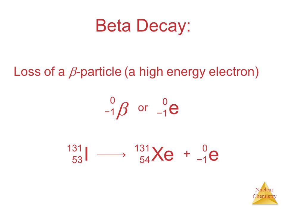  e I Xe e Beta Decay: Loss of a -particle (a high energy electron) +