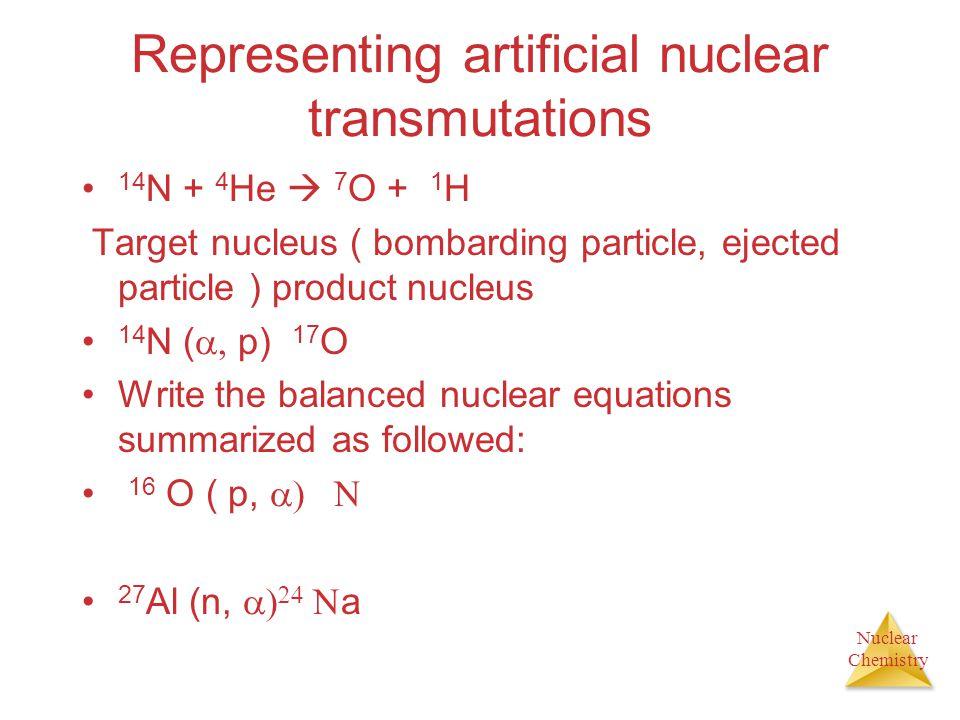 Representing artificial nuclear transmutations