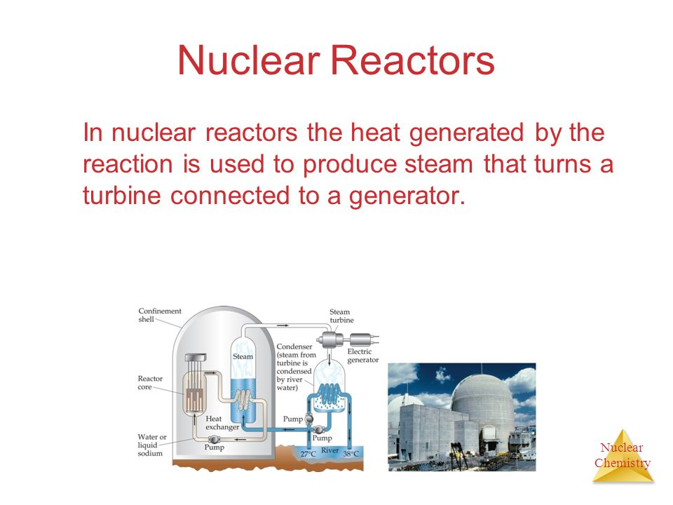 Nuclear Reactors In nuclear reactors the heat generated by the reaction is used to produce steam that turns a turbine connected to a generator.