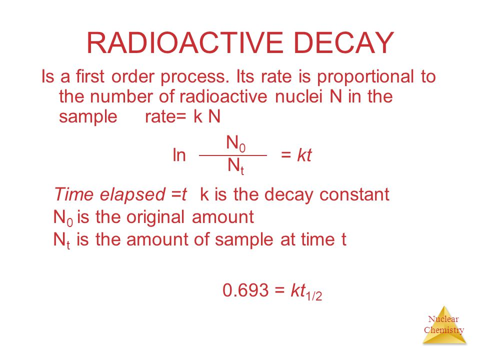 RADIOACTIVE DECAY Is a first order process. Its rate is proportional to the number of radioactive nuclei N in the sample rate= k N.