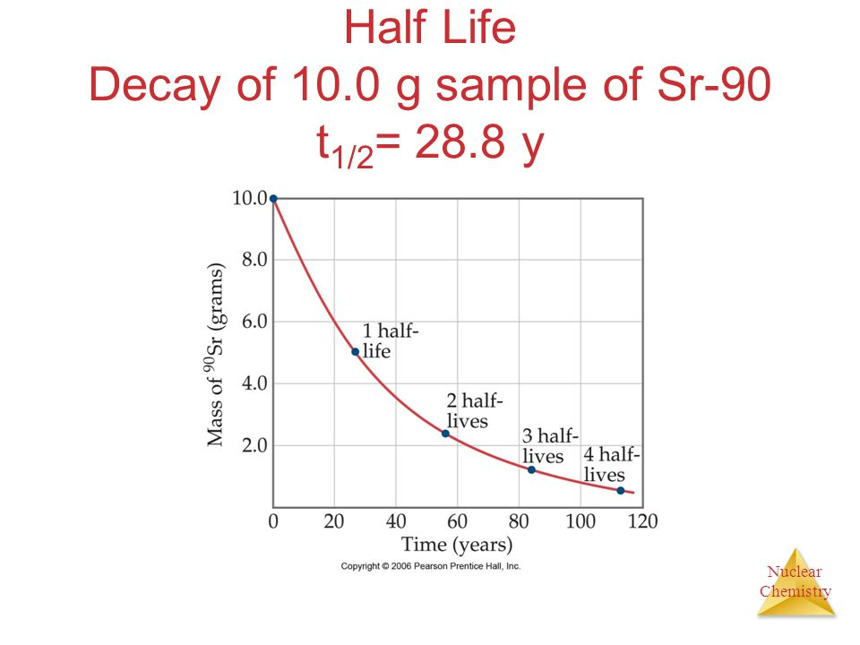 Half Life Decay of 10.0 g sample of Sr-90 t1/2= 28.8 y