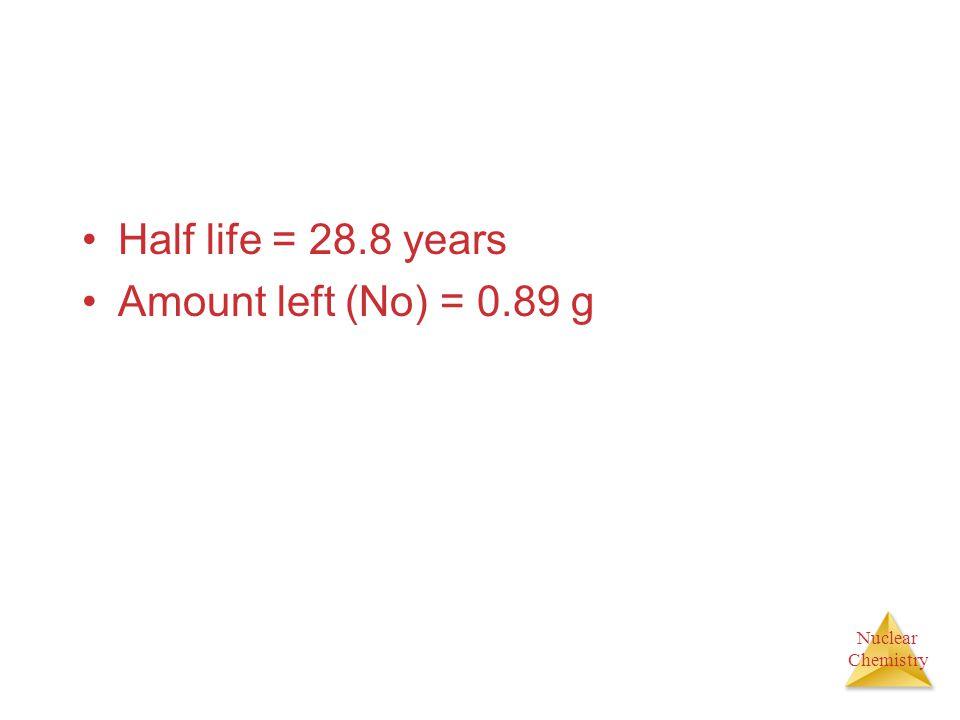 Half life = 28.8 years Amount left (No) = 0.89 g