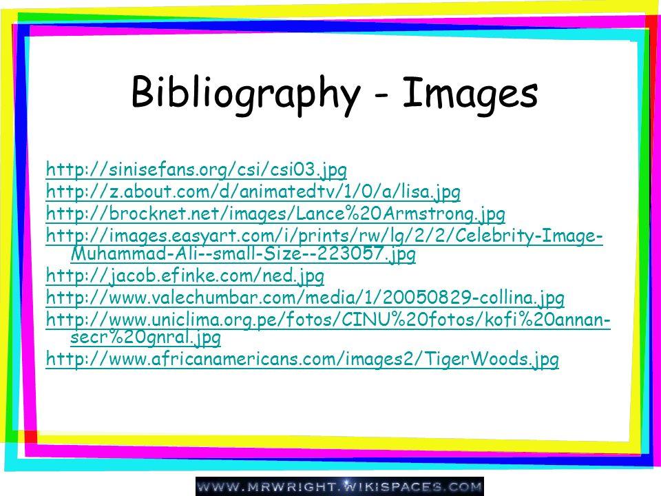 Bibliography - Images http://sinisefans.org/csi/csi03.jpg