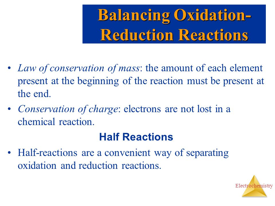 Balancing Oxidation-Reduction Reactions