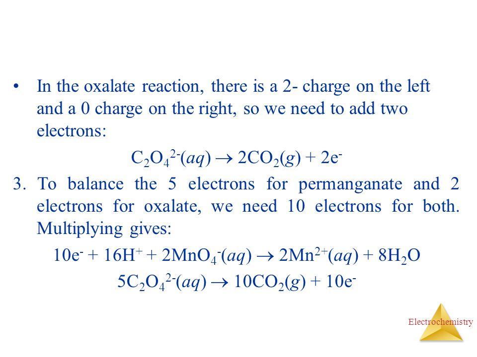 10e- + 16H+ + 2MnO4-(aq)  2Mn2+(aq) + 8H2O