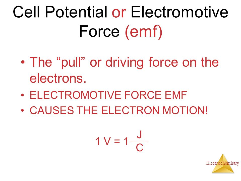 Cell Potential or Electromotive Force (emf)
