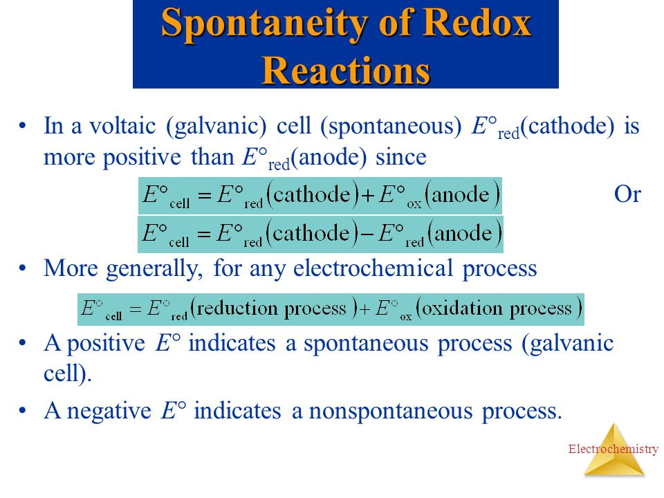 Spontaneity of Redox Reactions