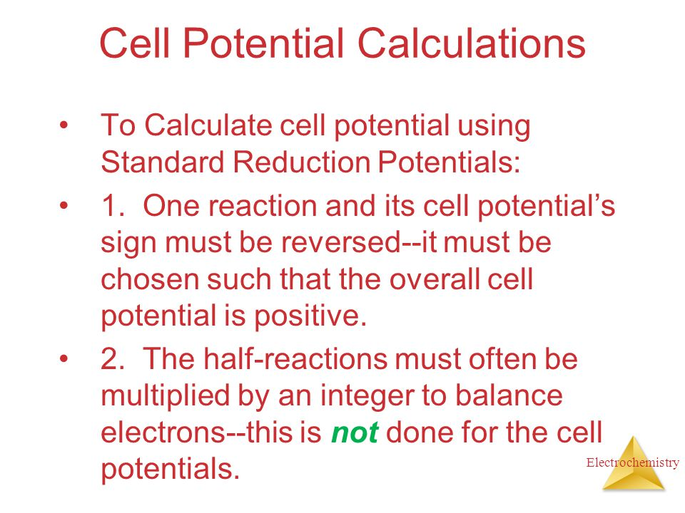 Cell Potential Calculations