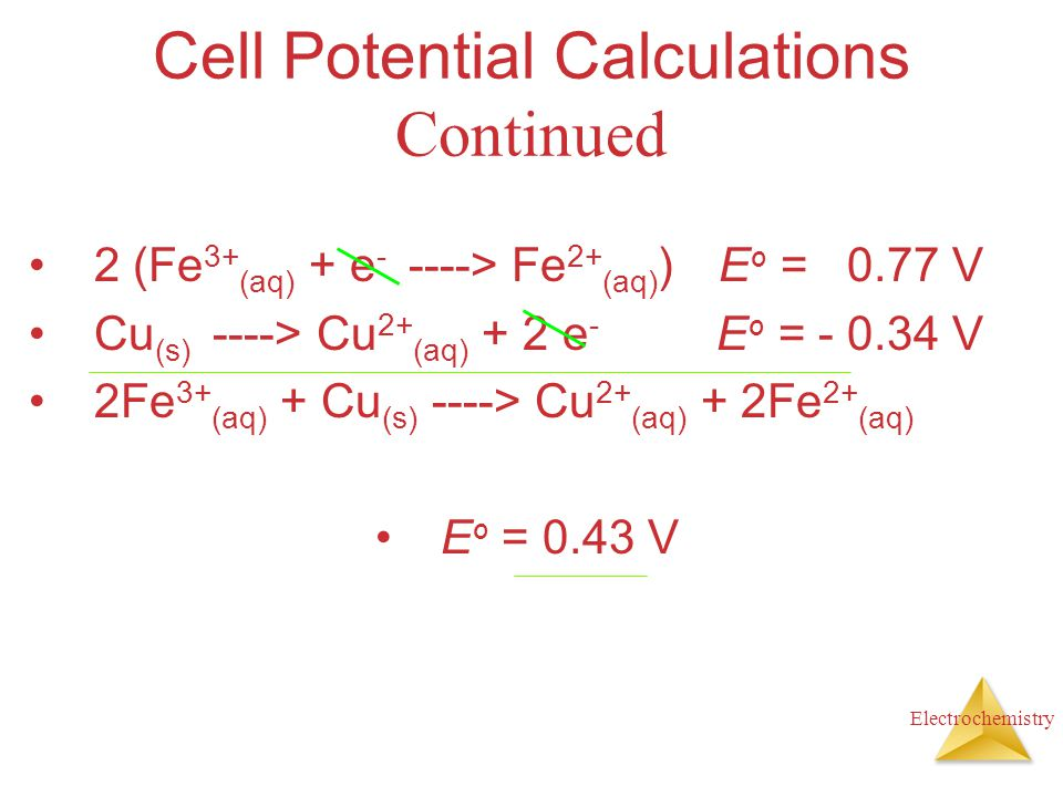 Cell Potential Calculations Continued