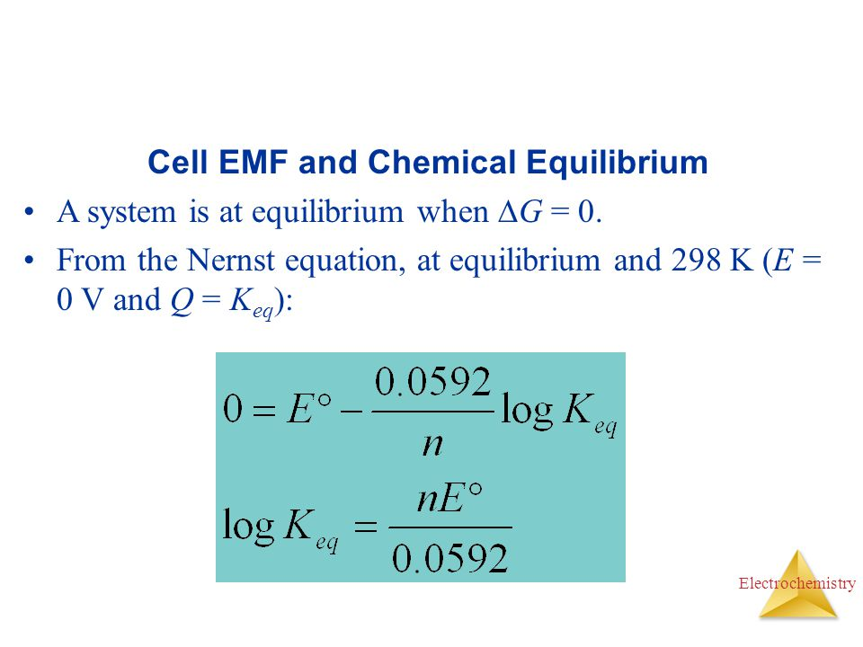 Cell EMF and Chemical Equilibrium